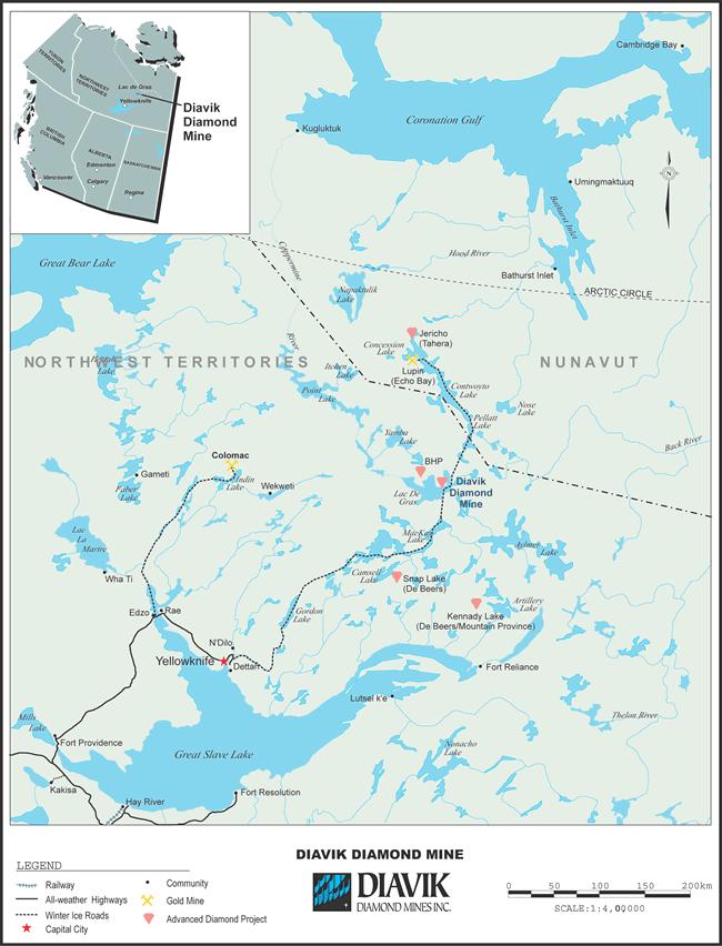 Map of the Diavik Canadian Diamond Mine Territory