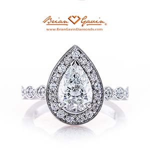Brian Gavin Custom pear shape diamond engagement ring, Justin H