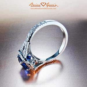 Blue Sapphire engagement ring, Brian Gavin split shank halo