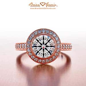 Buying an engagement ring, rose gold halo by Brian Gavin