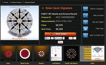Brian Gavin vs Affinity Hearts and Arrows Diamonds.
