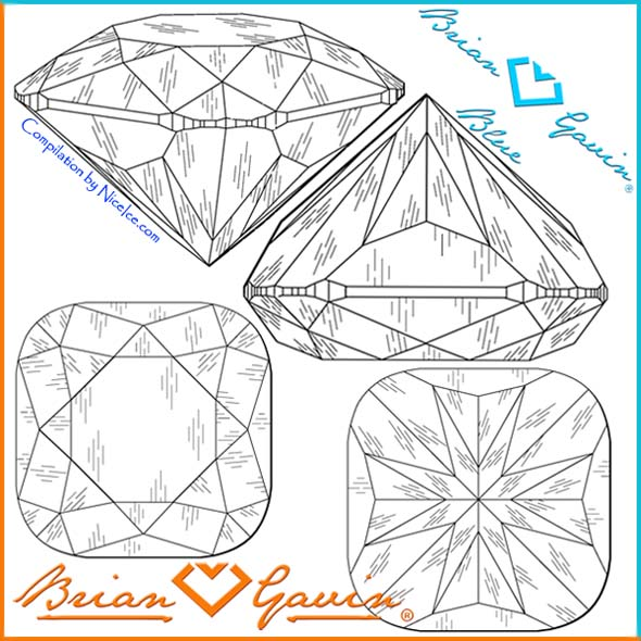 Facet Design of Brian Gavin Signature Cushion Cut Diamond with Hearts and Arrows pattern