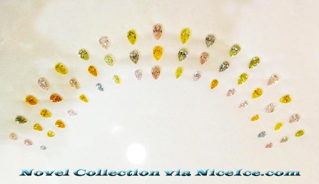 Fanned Out Fancy Colored Diamonds JCK Show 2013.