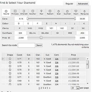 Screenshot 77Diamonds search engine options