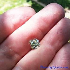 Brian Gavin Signature Cushion Cut Diamond Photographed Outdoors