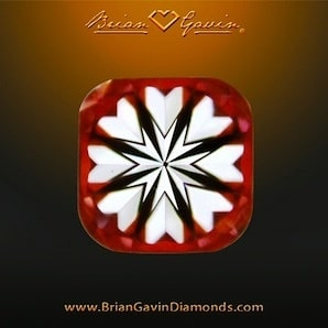 Hearts pattern within a Brian Gavin Signature Cushion Cut Diamond