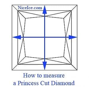 How to measure a princess cut diamond to determine the length to width ratio