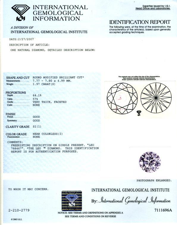 IGI diamond grading report for Leo Diamond diam99129 from Jareds