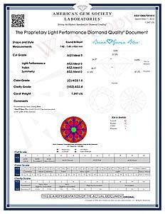 Diamond Quality Document for Brian Gavin Blue Fluorescent Diamond, AGS #104067041015