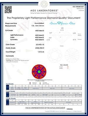 AGS DQD for Brian Gavin Blue Fluorescent Diamond, AGS #104064812027