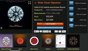 Diamond Details Page for Brian Gavin Signature Hearts & Arrows Diamond, AGS #1040363310023