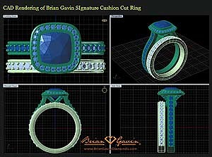 CAD Rendering for a Ring Custom Designed by Brian Gavin for a Cushion Cut Diamond