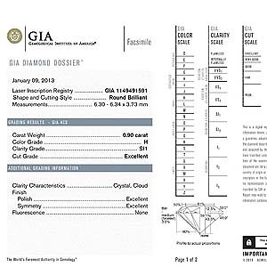 Diamond Dossier for James Allen Diamond, GIA #1149491591