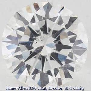 James Allen RBCD 0.90 carat, H-color, SI-1 clarity, GIA #1149491591