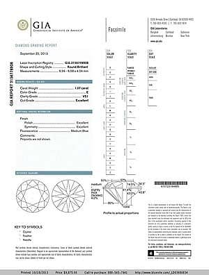 Blue Nile round brilliant ideal cut diamond, GIA #2156778908