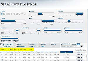 Search for diamonds at Blue Nile