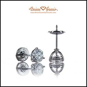 Best settings diamond earrings, 3 prong martini, handmade by Brian Gavin 18k white gold