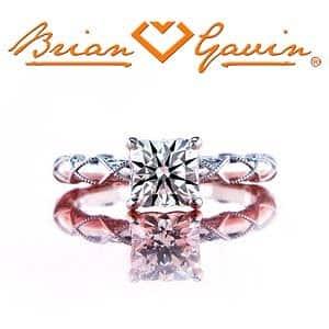Brian Gavin Signature Cushion cut diamond set in platinum Lace Solitaire