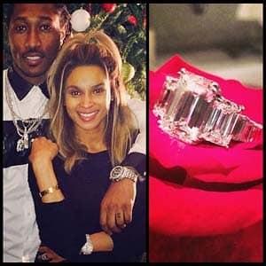 Ciara's 3 Stone Emerald Cut Diamond Ring from Future 2013
