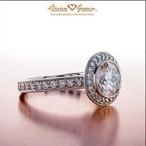 Pave diamond halo setting from Brian Gavin Diamonds
