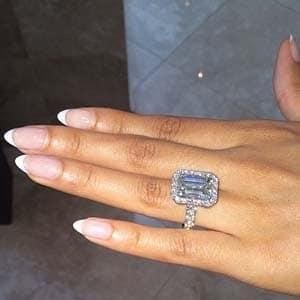 Evelyn Lozada emerald cut diamond engagement ring
