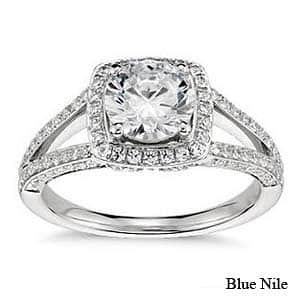Monique Lhuillier split shank halo engagement ring from Blue Nile