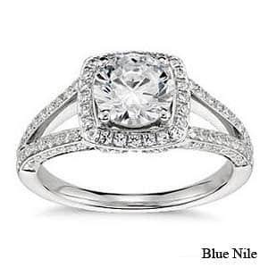 Monique Lhuillier split shank halo engagement ring from Blue Nile