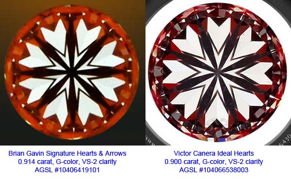 Comparison of Brian Gavin Signature Hearts pattern and Victor Canera Ideal Hearts pattern