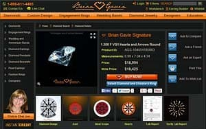 Brian Gavin Signature Hearts and Arrows diamond, AGSL 104054185003