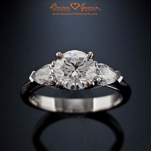 Brian Gavin Summer 3 Stone Engagement Ring with Pear Shaped Accents