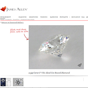Canadian conflict free ideal cut diamond from James Allen, AGSL 104046231005, SKU 228469