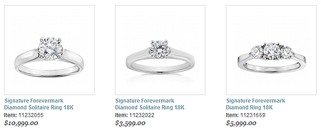De Beers Forevermark Diamond Rings, Ben Bridge Jewelers, screenshot captured 01-12-2014