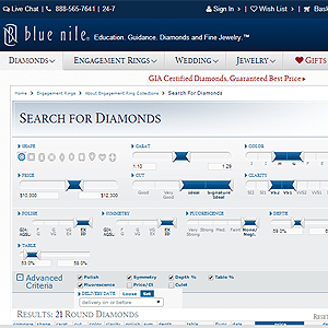 How to Search for Round Ideal Cut Diamonds on Blue Nile