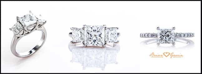 Princess cut diamond rings, GIA Excellent and Brian Gavin Signature