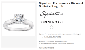 Signature Forevermark Diamond Ring Collection sku 11232055 Ben Bridge Jewelers