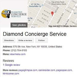 Diamonde Concierge Service Public Servicemark as displayed via Google