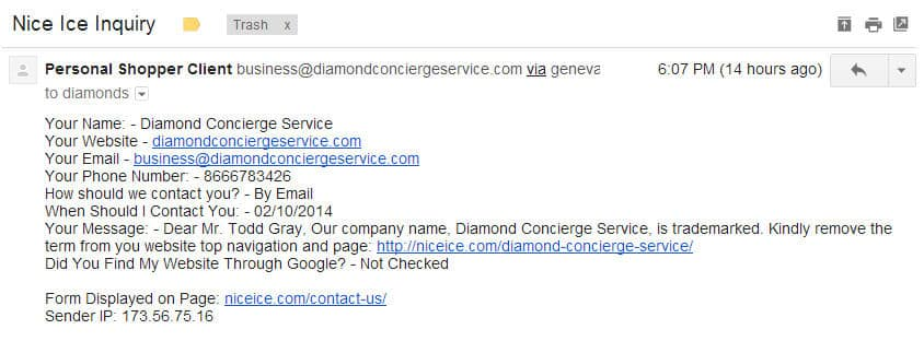Diamond Concierge Service Trademark Infringement Notice to Nice Ice dot com