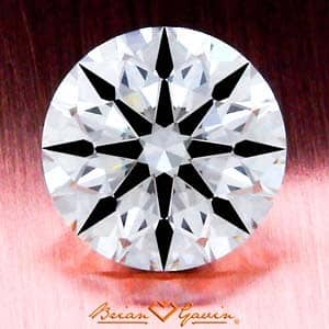 Example of high levels of contrast in a round brilliant cut diamond, Brian Gavin Signature AGS_104064191007