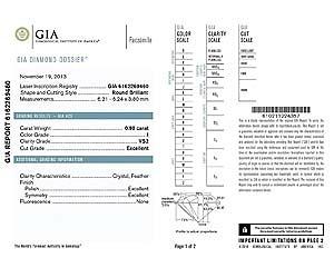 Blue Nile diamond reviews, GIA diamond dossier 6162269460