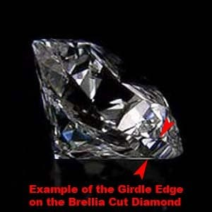 Brellia cushion cut diamond reviews, example of the girdle edge