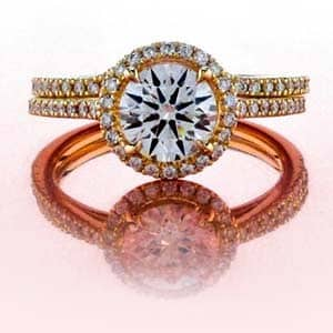 Halo Set Diamond Wedding Set in Yellow Gold