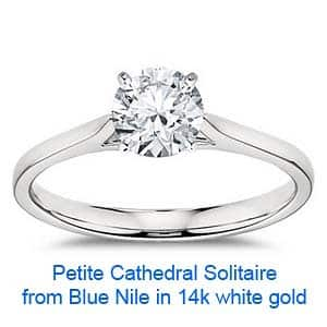 Petite Cathedral Solitaire from Blue Nile and coupon codes