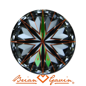How hearts and arrows patterns are created in round ideal cut diamonds, courtesy Brian Gavin