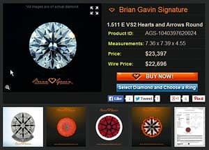 Brian Gavin Signature hearts and arrows diamond review, AGS 1040397620024