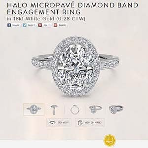 Ritani micro pave halo diamond engagement ring review for oval center stone
