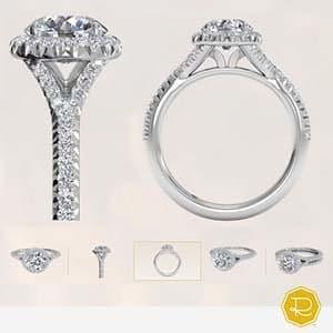Ritani split shank french halo engagement ring reviews, platinum, side profile