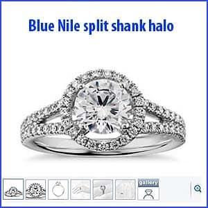 Blue Nile split shank floating halo engagement ring