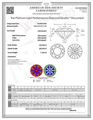 Crafted by Infinity D-color, Internally Flawless diamond review, AGSL 104071881023
