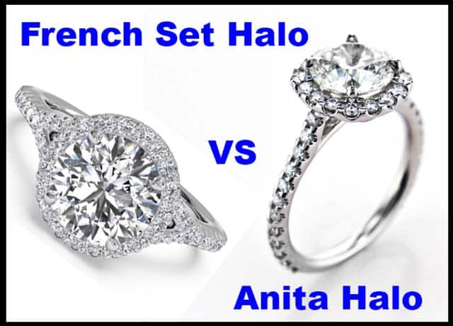French Set Halo by Ritani, versus Brian Gavin Anita Halo Engagement Rings