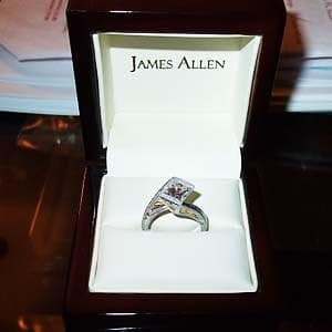 Choosing James Allen princess cut diamond for Viachi engagement ring